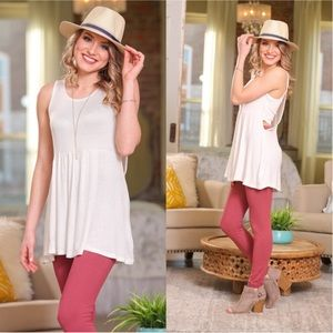 Ivory Banded Side Tank Tunic Top Sleeveless Shirt
